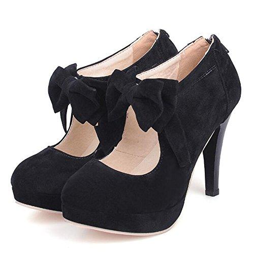 MKJYDM Bow High Heels große Einzelschuhe 34-47 Meter Mode Runde Kopf Wildleder Damenschuhe Frauen High Heels (Color : Black, Size : 44) Bow Heels