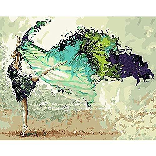 yhwygg DIY Ölgemälde Wasser Tanz Figur DIY Digitale Moderne Wandkunst Leinwand Malerei Weihnachten Einzigartiges Geschenk Dekoration - (40X50 cm) Mit Rahmen Malen Nach - Abstrakter Tanz Kostüm
