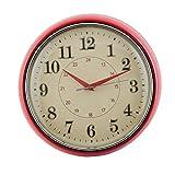Clayre & Eef 6KL0351 Uhr Wanduhr Rot ca. Ø 28 x 8 cm