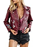 Simplee Apparel Damen Jacke Kurz Blumen Sticker Cusual PU Leather Zipper Jacke Bikerjacke Rot