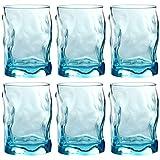 Bormioli Rocco Trinkgläser | farbig | 6-teiliges Set | 300ml | blau | Glas | 11 x 7,5 x 7,5 cm | Außergewöhnliche Gläser - geknitterte Design