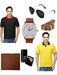 Lime Offers Combo Of Two T Shirts And Wallet Watch Belt Sunglasses Cardholder (38)