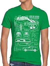 style3 GT500 Dessin Bleu Homme T-Shirt
