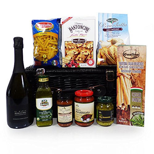 A Taste of Venice Prosecco and Food Wicker Basket Hamper - Gift Ideas for Mum, Mothers Day, Christmas, Birthday, Anniversary, Corporate, Business gifts, Dad, Fathers Day, Teacher, Student