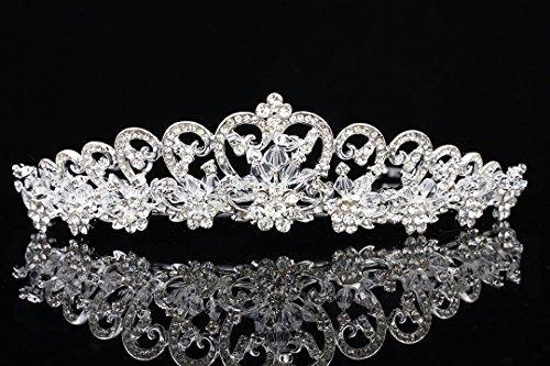 Floral Ribbon Design Rhinestone Crystal Beads Tiara Crown T887 by Venus Jewelry