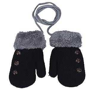 MIOIM® Guantes de Invierno calientes con una cuerda suaves manoplas de felpa guantes de punto para unisex bebé niña niño