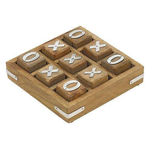 ShalinIndia hölzerne Nullen und Kreuze Tic tac Toe pädagogische Brettspiele für Kinder 7 und bis 11,5 x 11,5 cm