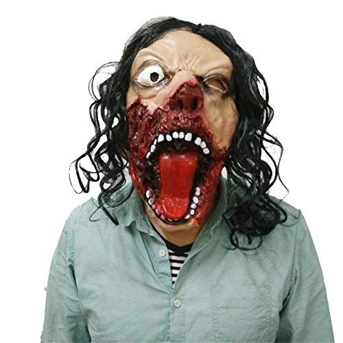 Scary Realistische Kostüm - Halloween Latex Maske Zombie Ghost Scary Latex Maske Für Maskerade Halloween Kostüm Party Realistische Horror Dekoration Mit Haaren
