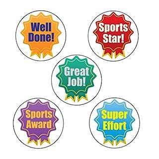 125x Teilnehmer Award Rosette Sport Aufkleber, FUN Sports Day Aufkleber. groß 28mm Schule Aufkleber-Well Done, Sports Star, Great Job, Super Aufwand, Sport Award
