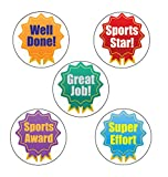 125 x Participant Award Rosette Sports Stickers, Fun Sports Day Stickers! Large 28mm School Stickers - Well Done, Sports Star, Great Job, Super Effort, Sports Award