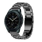 JiaMeng Diamante Pulsera de Reloj Reemplazo Banda Correa de Lujo del reemplazo de la Pulsera del Acero Inoxidable para el Reloj del Samsung Galaxy 42mm(Negro)