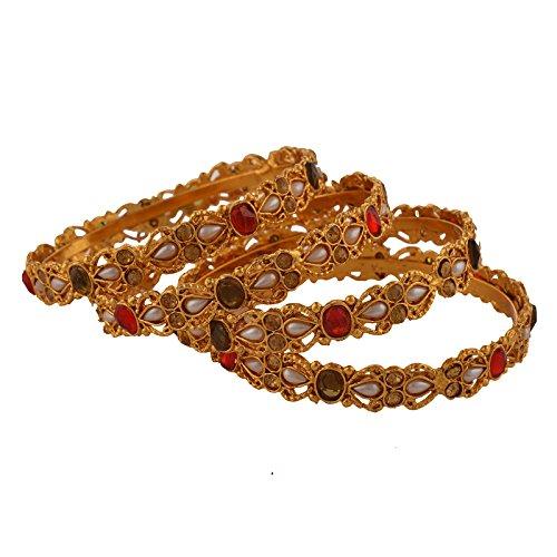 Zephyrr Jewellery Gold Tone Bangle With Meenakari Pearls Stones Set Of 4