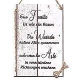 Wand Deko Holzschild mit Spruch im Shabby Chic Vintage Stil (29x20x0,5cm) - Eine Familie ist Wie Ein Baum - die Geschenkidee