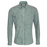 Almsach Herren Trachtenhemd Slim-Fit Slim-Line Trachten-Mode traditionell-kariert s-XXL viele Farben, Größe:L, Farbe:Dunkelgrün