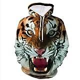 Oudan Signore Felpa con Cappuccio Tiger Sacco di Stampa Digitale Casual Elegante Pullover Felpe con Cappuccio Camicetta Via delle Parti Superiori Vestiti Maglietta