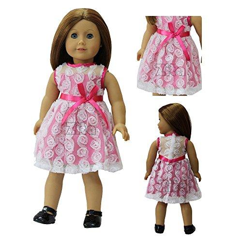 ZITA ELEMENT Kleid Kostüm Kleider Clothes fit für 18 Zoll American Girl 45-46 cm Götz Puppe Kleidung Rosa Rose Weiß (Kostüme Rosa Girl Super)