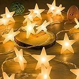 Uping Led Lichterkette Sterne 30er Batterienbetriebene für Party, Garten, Weihnachten, Halloween, Hochzeit, Beleuchtung Deko usw. 4,5M warm weiß