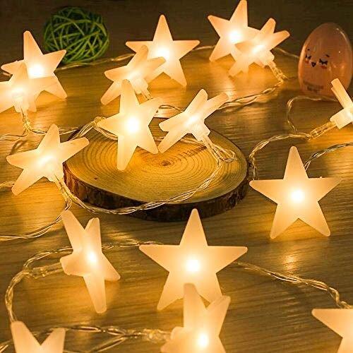 (Uping DE-SLDS30ww LED Lichterkette Sterne 30er Batterienbetriebene für Party, Garten, Weihnachten, Halloween, Hochzeit, Beleuchtung Deko usw. 4,5M warm weiß, Kunststoff, White)