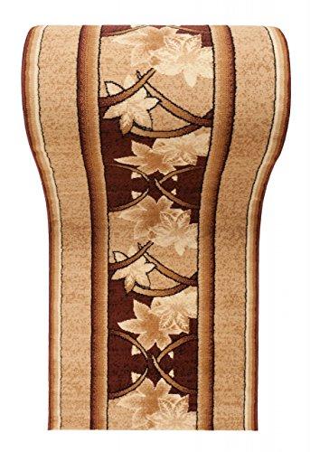 WE LOVE RUGS CARPETO Läufer Teppich Flur in Beige Braun - Floral Muster - Kurzflor Teppichlaufer Verona Kollektion 120 x 775 cm - Florale Kollektion