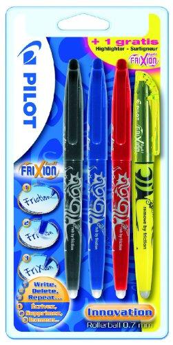 Pilot 2260B4 - Frixion Tintenroller Ball mit einen Textmarker Promotion 4 Stück schwarz, rot, blau und ein gelber Frixion Light gratis