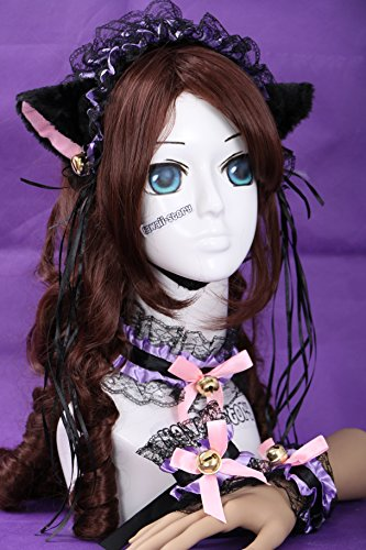 C-02 schwarz lila Gothic Lolita Maid Katzen Ohren Cat Ear Haarband Halsband Armband Set Cosplay (Set Cosplay)