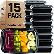 GUFARO Meal Prep Containers [15 Pack] Single 1 Compartment with Lids, Food Storage Bento Box   BPA Free   Stackable   Reusab