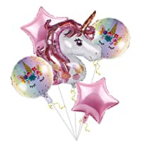 Unicorn Balloons Birthday Party Decorations - Pack of 6, Pink Unicorn Mylar Balloon for Unicorn Theme Party Supplies, Baby Shower, Home Office Decor, Birthday Backdrop