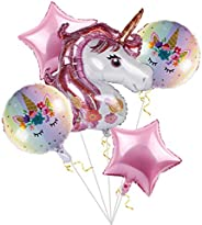 Unicorn Balloons Birthday Party Decorations - Pack of 6, Pink Unicorn Mylar Balloon for Unicorn Theme Party Su