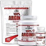 C.P. Sports Arginin - Pulver, Kapseln, vegan Pump Supplement ideal für Muskelaufbau, Kraftaufbau, Ausdauertraining, Pre-Workout Booster, Durchblutung (Kapseln)