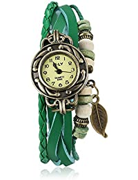 Naivo Women's Quartz Brass Plated Stainless Steel and Leather Casual Color:Green (Model: WATCH-1180)