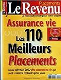 REVENU (LE) du 01-03-2002 ASSURANCE-VIE - LES 110 MEILLEURS PLACEMENT