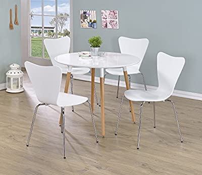 MORTON ROUND DINING TABLE-White Wooden Top With Beech Wood Legs (Table Only)