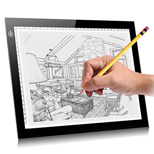 SUAVER Artcraft Tracing Light Board, A4 Ultra Thin LED Zeichnung Kopie Tracing Light Box Dimmable Helligkeit LED Artcraft Architektur Kalligraphie Handwerk Für Künstler, Zeichnung, Skizzieren, Animation (A4)
