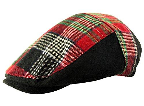 Itzu Homme Laine Tartan Tweed Carreaux Pied-de-Poule Casquette Plate de Golf Baker Boy en Noir et Rouge