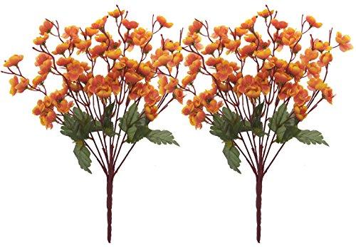 Fourwalls Artificial Peach Blossom Flower Bunch (37 cm, Sunred, Set of 2,...