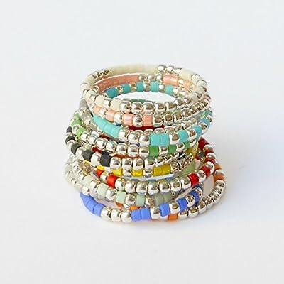Bague colorée - Bague argent ethnique femme - Bague Anneau - Bague verre - 12 coloris au choix