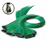 Frcolor 10pcs Colored Highlight clip synthétique dans les extensions de cheveux (vert)