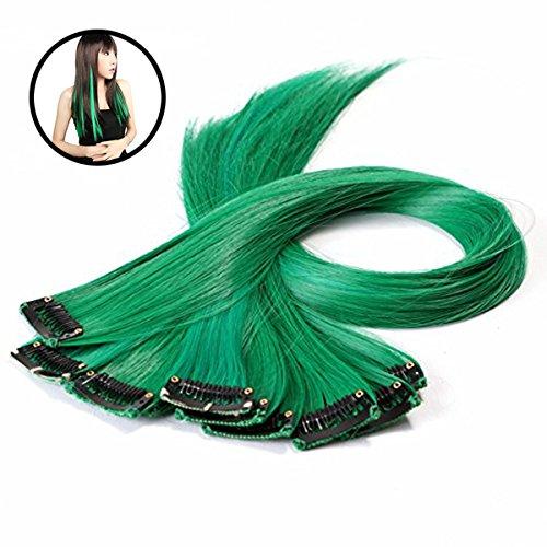ght synthetische Clip in Hair Extensions grün (Grüne Hair Extensions)