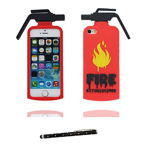 iPhone 5 Coque, Étui Cover Housse pour iPhone 5S 5C 5G, TPU Rubber Skin Soft Shell iPhone SE Case, Résistant à la poussière Scratch (3D Cartoon lapin Stripe) et stylet blanc rouge