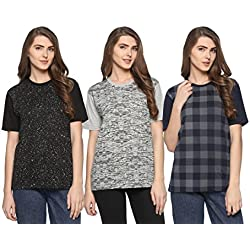 Shaun Women's T-Shirts (Pack of 3) (104MNPRTD3_XNK46a_Grey Dark Blue Black_XXX-Large)