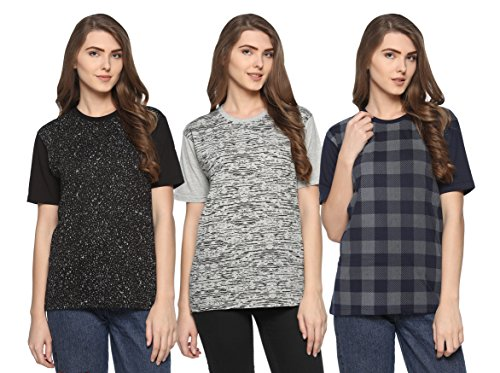 SHAUN Women's T-Shirts (Pack of 3) (104MNPRTD3_XNK44_Grey Dark Blue Black_X-Large)