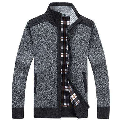 WAOSHANES Herbst Winter Fleece Men Casual Cardigan Warme Mäntel Zipper Pull Sweater Dark Grey XL