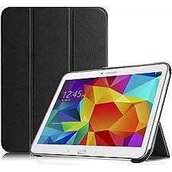 FINTIE Housse pour Tablette Samsung Galaxy Tab 4 10.1 SM-T530 SM-T535 (10.1 Pouces) - Ultra-Mince et Léger PU Cuir étui Coque Case Cover avec la Fonction Sommeil/Réveil Automatique, Noir