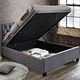 Happy Beds Velvet Ottoman Storage Bed, Cologne Grey Fabric Modern Bed - 5ft UK King (150 x 200 cm) Frame Only