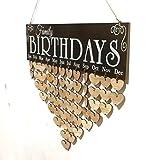 Décoration à la maison,Fulltime®Calendrier bricolage bois,Panneau de rappel de plaque de pli d'anniversaire pour la famille et les amis (E)