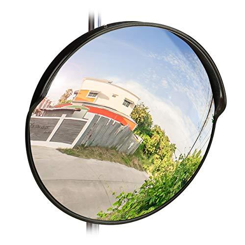 Relaxdays 10028416_46 Specchio Convesso 45 cm,Resistente a Intemperie,Infrangibile,per Esterni & Interni,incl. Supporto,Rotondo,Nero, 45 x 45 x 24 cm