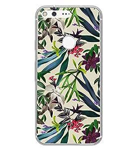 Fuson Beautiful Flower Designer Back Case Cover for Google Pixel XL (Greenary Wood Rose Tiger Bee Bird)