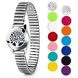 Aromatherapie Armband Lebensbaum Kette Armband Geschenk für Frauen Duftarmband Edelstahl Aroma Diffusor Armband für Angst mit 12 Farbpads -