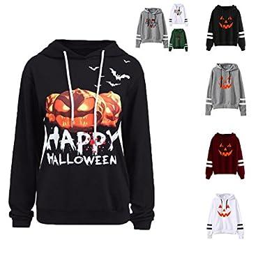 Frauen Langer Hülsen Kapuzenpulli,Kingwo Damen Blumendruck Sweatshirt Kapuzenpulli Tops Kürbis Warme Hoodies für Halloween