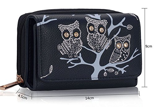 Xardi London Trifold-Portafoglio da donna con portamonete Notes-Clutch Bag Blu (Blu)